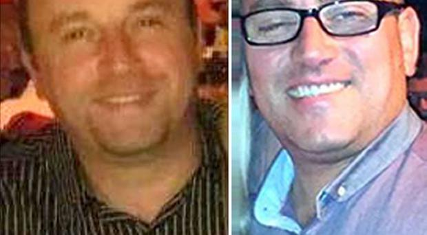 Brothers Darren (left) and Mark Thorpe (right) and their cousin Gavin Bradley died while kayaking on the River Tyne near Hexham, Northumberland (PA/Northumbria Police)