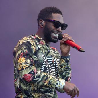 Tinie Tempah on the Radio 1 Stage at the T in the Park music festival held at Balado Park in Kinross, Scotland.
