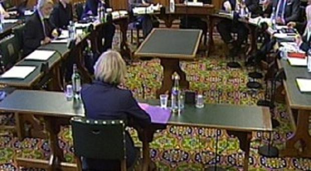 Home Secretary Theresa May appearing in front of the Home Affairs Select Committee where she answered questions about the inquiry into allegations of historic child sex abuse.