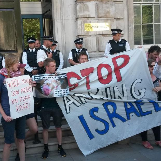 Pro-Palestinian group London Palestine Action demonstrates outside the Cabinet Office in Whitehall