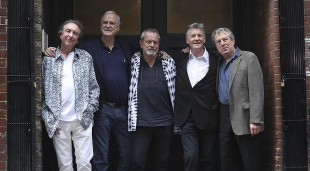 (left to right) Eric Idle, John Cleese, Terry Gilliam, Michael Palin and Terry Jones from Monty Python at a photocall before their series of live dates at the O2 Arena.