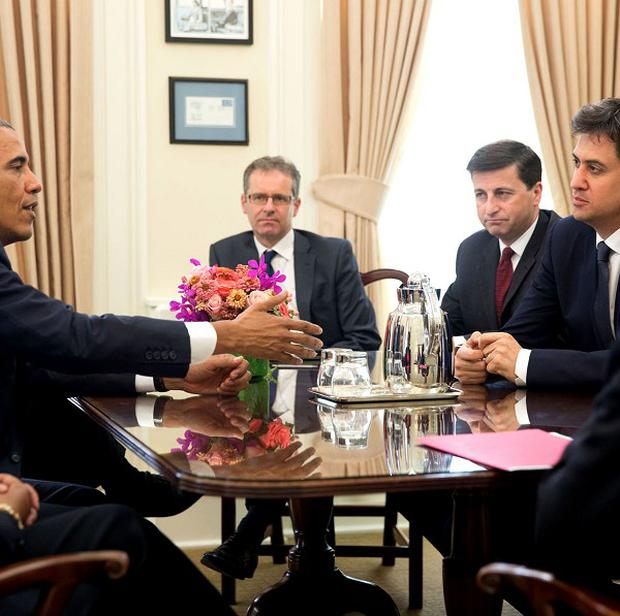 President Barack Obama meets Ed Miliband in the White House (White House/PA)