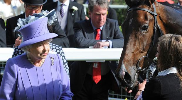 The Queen and Sir Michael Stoute with Estimate at Royal Ascot.