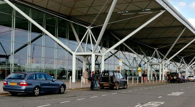 The plane was escorted to Stansted