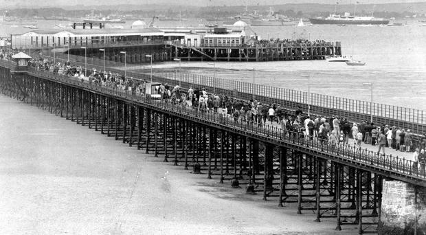 Ryde pier during the Fleet Review of 1977 with Britannia, as the 200th anniversary of the opening of Britain's first seaside pier, Ryde pier on the Isle of Wight, is being today.