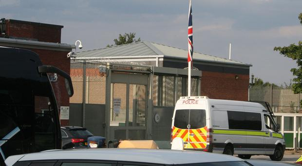 A police van outside HMP Ranby in Retford, Nottinghamshire as a disturbance has broken out at the prison after 120 inmates refused to return to their cells.