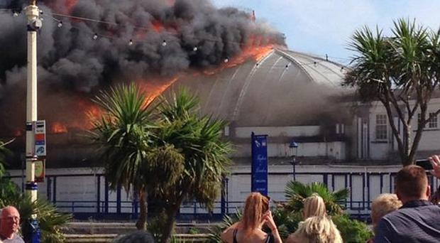 Fire takes hold at Eastbourne Pier in East Sussex