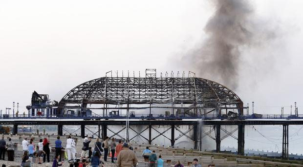 Eastbourne pier was hit by fire