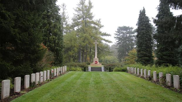 The Duke and Duchess of Cambridge and Prince Harry will be at a ceremony at St Symphorien military cemetery near Mons