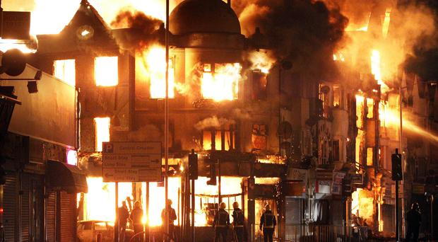 Businesses were torched during the 2011 riots in England
