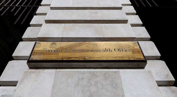 General view of the sign on the Foreign Office in central London.