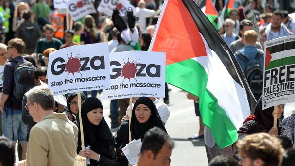 Protesters against military action in Gaza gather in central London