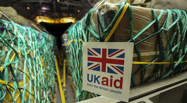 Humanitarian aid being loaded on to a RAF Hercules C130 bound for Iraq (MoD/PA)