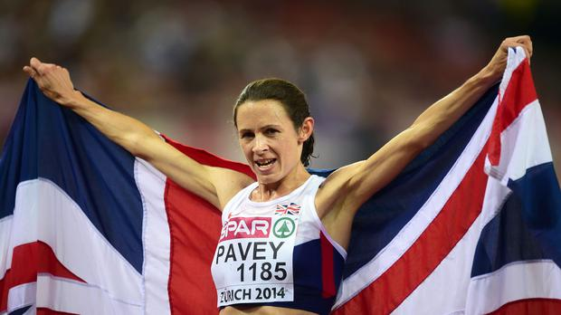 Great Britain's Jo Pavey celebrates winning the Women's 10,000m final at the Letzigrund Stadium, Zurich
