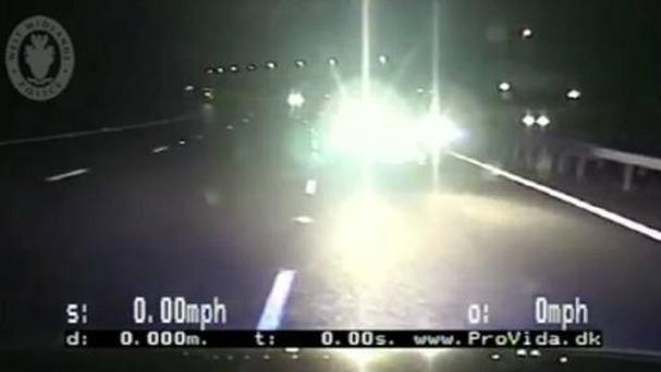 Footage of police car crashing into a vehicle being driven the wrong way down a motorway has been released