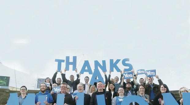 Yes Scotland chief executive Blair Jenkins (fourth left) with The Proclaimers' Craig Reid (third left) and Charlie Reid (fifth left) as they promote the Yes Declaration reaching its one million target