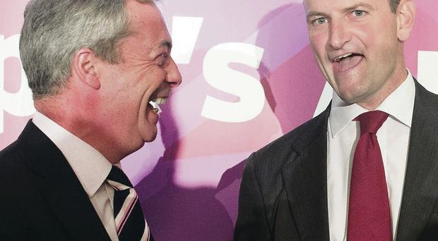 Ukip leader Nigel Farage (left) with Conservative MP Douglas Carswell who joined his party