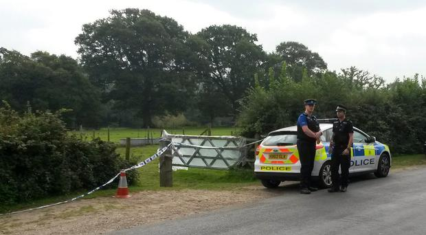 Police at the scene in Beaulieu in the New Forest national park