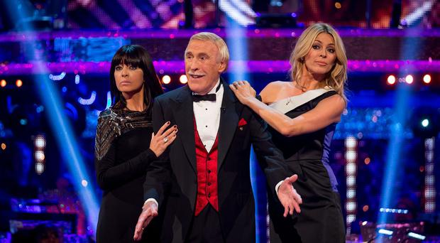 Claudia Winkleman, Sir Bruce Forsyth and Tess Daly during the launch episode of Strictly Come Dancing.