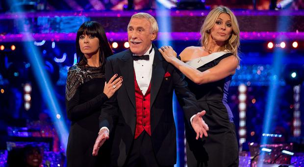 Claudia Winkleman, Sir Bruce Forsyth and Tess Daly during the launch episode of Strictly Come Dancing