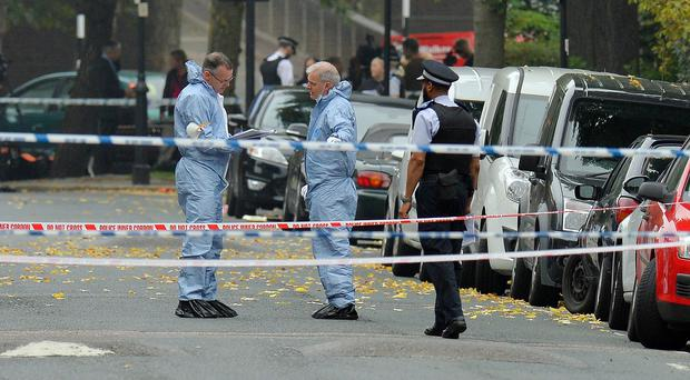 Police at the scene of the shooting in Islington, London