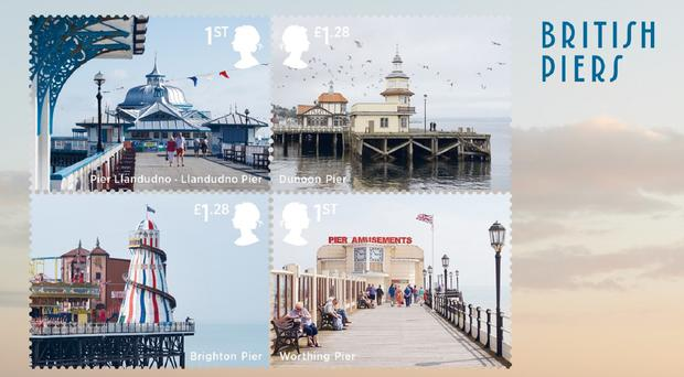 The new set of stamps of UK piers (Royal Mail/PA)