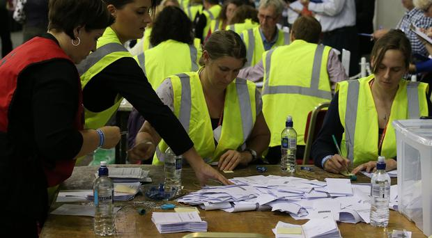 Ballot papers are counted in the Highland Hall at the Royal Highland Centre in Edinburgh