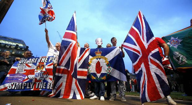 Unionists gather in George Square, Glasgow, following the Scottish independence referendum