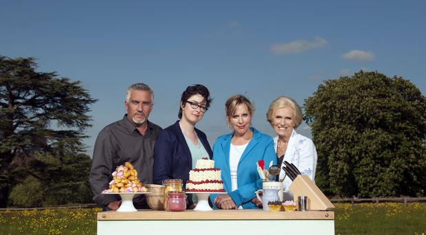 Sue Perkins and Mel Giedroyc (centre) are renowned for their double entendres on The Great British Bake Off