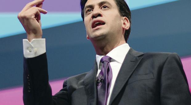 Labour leader Ed Miliband addresses the party conference in Manchester yesterday