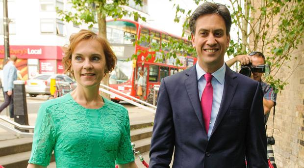 Labour leader Ed Miliband with his wife Justine Thornton