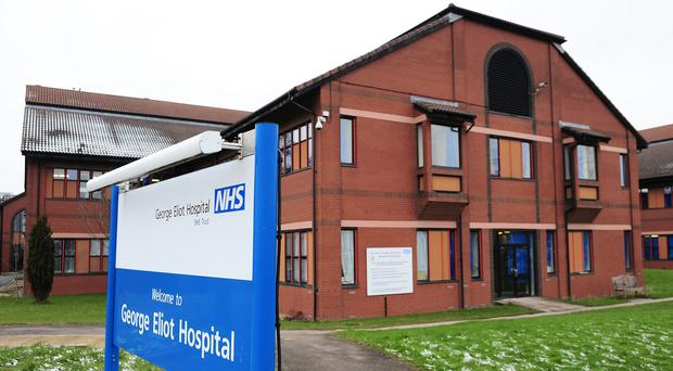 A hoax caller lured victims to the George Eliot Hospital in the mistaken belief that one of their relatives had died