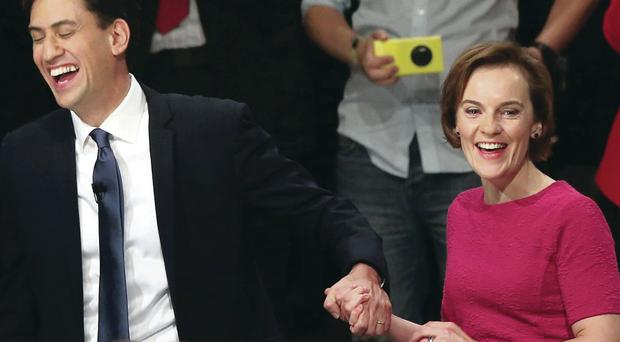 Labour leader Ed Miliband is greeted by his wife Justine after delivering his speech at the party conference yesterday
