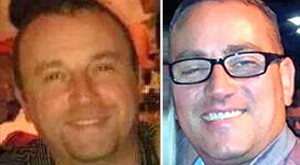 Photos issued by Northumbria Police of brothers Darren (left) and Mark Thorpe who along with their cousin Gavin Bradley, died after they got into difficulties while kayaking on the River Tyne near Hexham, Northumberland.