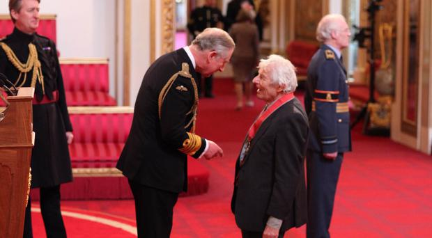 Dr Dannie Abse, who has died at 91, is made a CBE by the Prince of Wales
