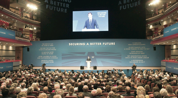 Chancellor George Osborne makes his keynote address to the Conservative Party conference at the International Convention Centre in Birmingham yesterday