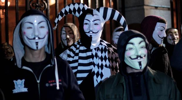 The Anonymous Million Mask March in Dublin