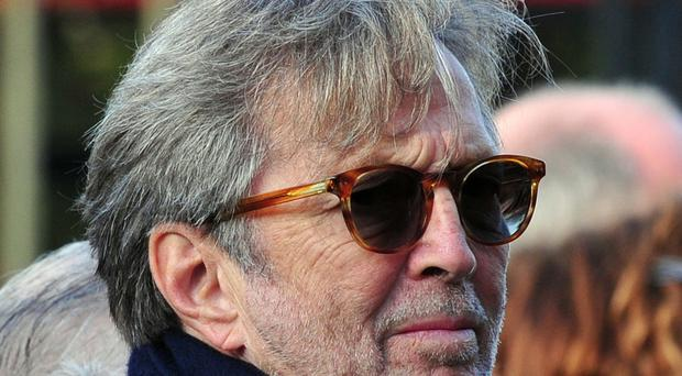Eric Clapton arrives for the funeral of Jack Bruce at Golders Green Crematorium, north west London.