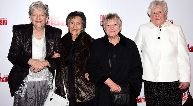 Left to right, Vera Sime, Gwen Davis, Sheila Douglass and Eileen Pullen at the opening night of Made In Dagenham