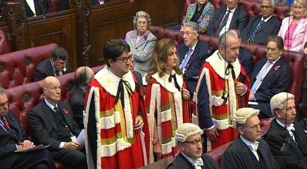 Karren Brady with Lord Feldman and Lord Sugar, as she takes her seat in the House of Lords