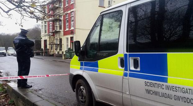 Police outside the Sirhowy Arms Hotel in Argoed