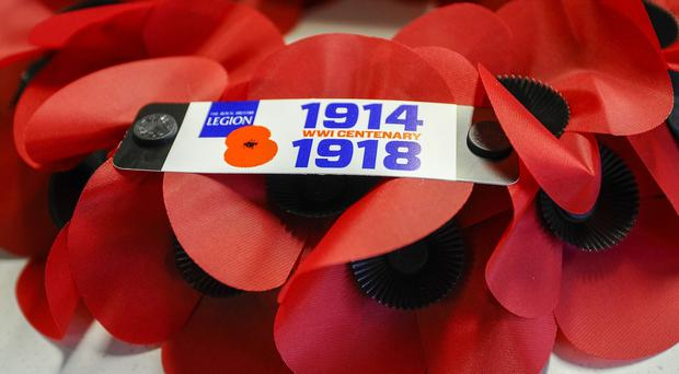 Commemorative poppy wreaths to mark the First World War