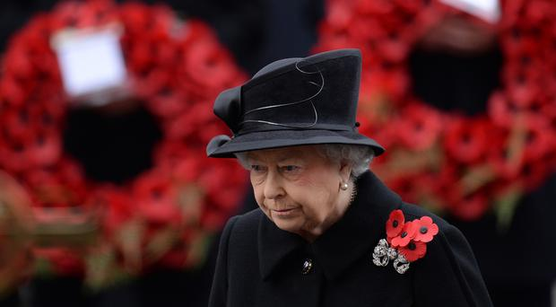 Queen Elizabeth II at the Cenotaph memorial in Whitehall, central London.