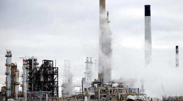 Humber Refinery in North Lincolnshire, as hundreds of workers at the oil refinery voted to continue an unofficial strike in a dispute over safety.