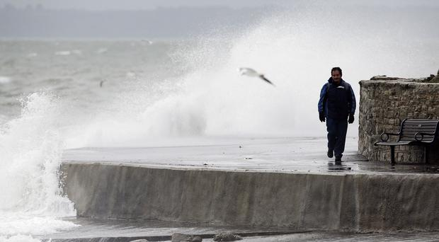 Strong winds and tides at the seafront of Southsea, near Portsmouth, Hampshire