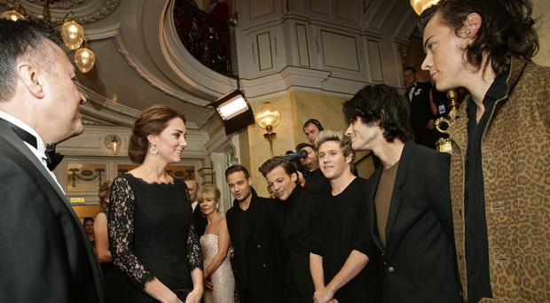 The Duchess of Cambridge meets boyband One Direction