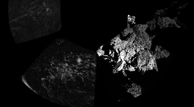 People celebrating the achievement of landing a probe on a comet are blind to the real purpose of the mission - to investigate a nest of aliens.