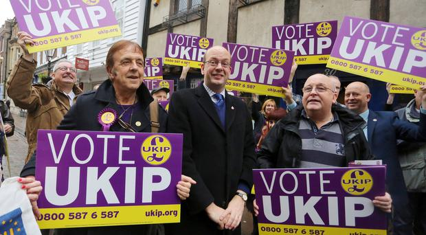 Candidate Mark Reckless surrounded by Ukip supporters in Rochester