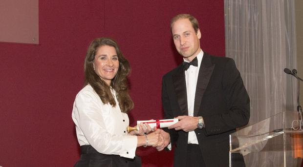 The Duke of Cambridge presents Melinda Gates with the Chatham House Prize 2014, at the Royal United Services Institute and Banqueting House in Whitehall.