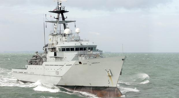 HMS Tyne escorted the Russian warships as they sailed though the Channel